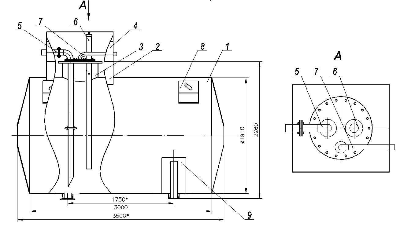 Резервуар подземный 10м3 (с запорной арматурой)
